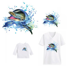 Watercolor Dolphin Animals Patches for Clothes T-shirt Hat Heat Transfer Iron Stickers Appliques DIY Accessory A-level Washable(China)
