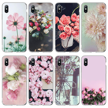 Moskado Soft Clear Flower Case Cover For iphone 5 5S SE 6 6S 7 8 Plus XS Max XR X Fashion Chic Floral Silicone Phone Cases Shell moskado case for iphone 8 7 6 6s plus x xs max cartoon fashion chic flower yellow fresh cover for iphone 5 5s se soft tpu cover