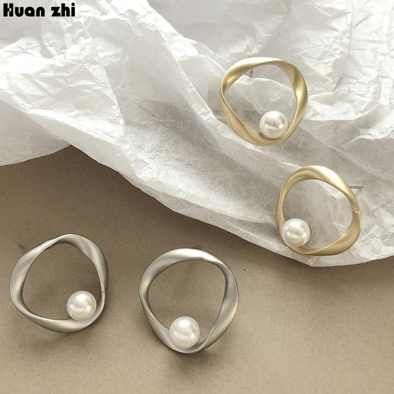 Женские серьги гвоздики HUANZHI, простые матовые металлические геометрические серьги из стерлингового серебра S925 пробы с неровным круглым жемчугом|Серьги-гвоздики|   | АлиЭкспресс - Жемчуг