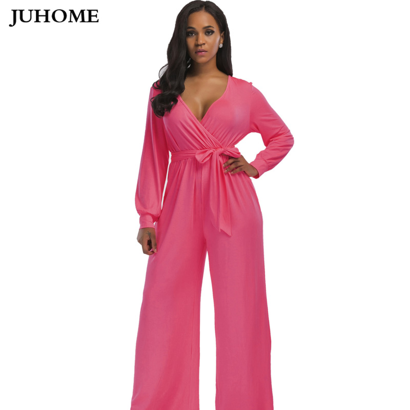 80dc7d9af52 autumn V Neck Long Sleeves elegant Jumpsuits Womens 2018 Europe Street  Classical Formal Full Length Loose Ladies Work dungarees-in Jumpsuits from  Women s ...