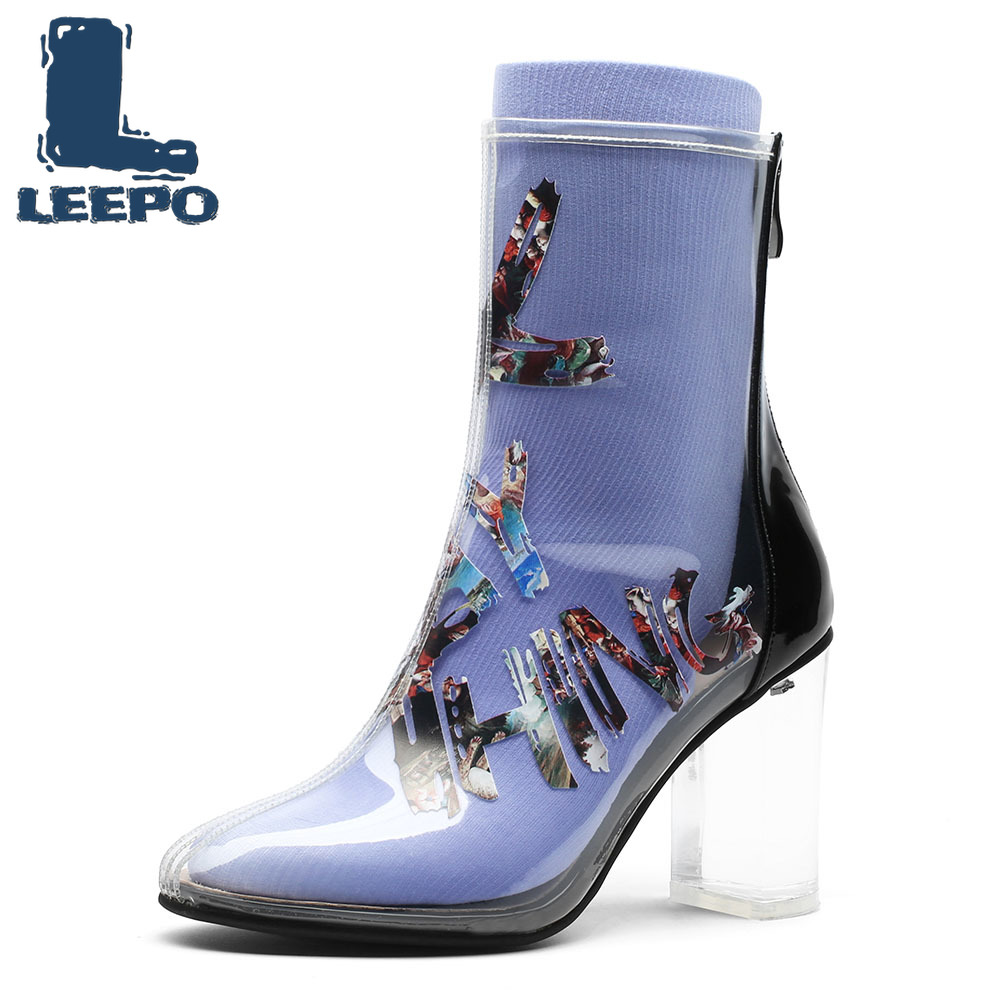 LEEPO Transparent Boots for Women Handmade Individuality Graffiti Boots Woman Prints Transparent High Heels Shoes Female PumpsLEEPO Transparent Boots for Women Handmade Individuality Graffiti Boots Woman Prints Transparent High Heels Shoes Female Pumps