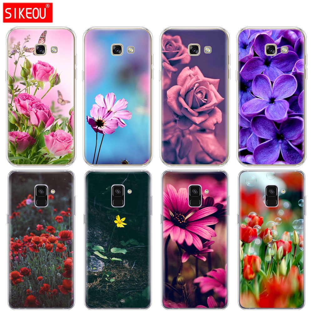 ซิลิโคนโทรศัพท์กรณีสำหรับ Samsung Galaxy A6 A8 2018 A3 A310 A5 A510 A7 2016 2017 Rose สีม่วงดอกไม้