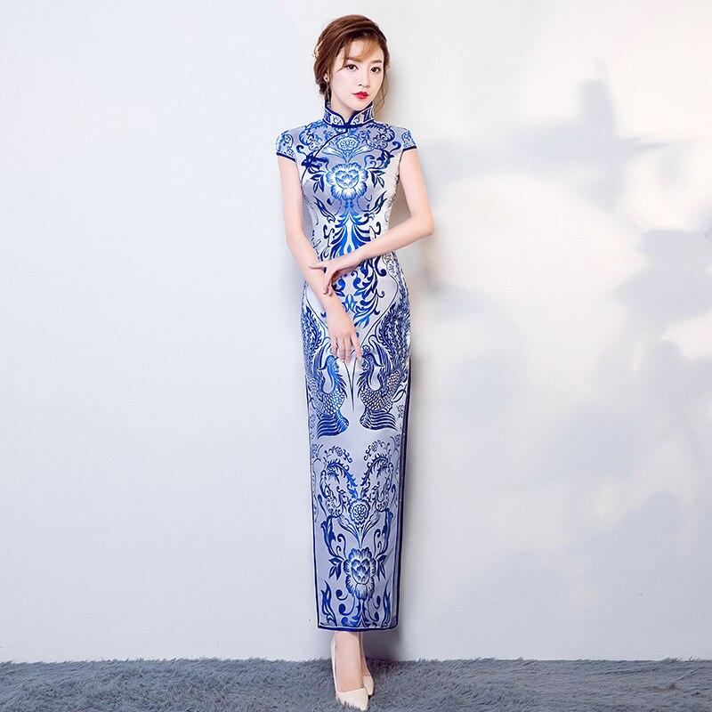 Bleu blanc porcelaine Satin Cheongsam chinois traditionnel robe de mariée femmes rétro soirée fête Qipao Oriental Dragon robes
