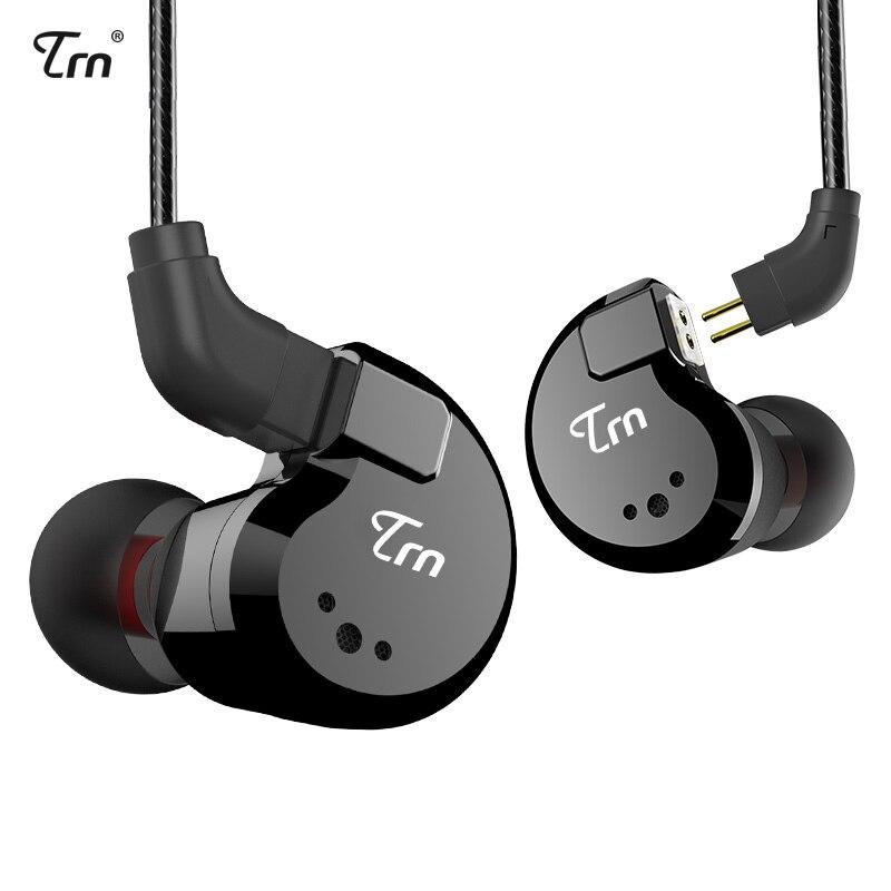 TRN V80 2DD + 2BA híbrido en auricular del oído HIFI DJ Monitor auriculares deportivos auricular con 2PIN desmontable TRN V20/V60