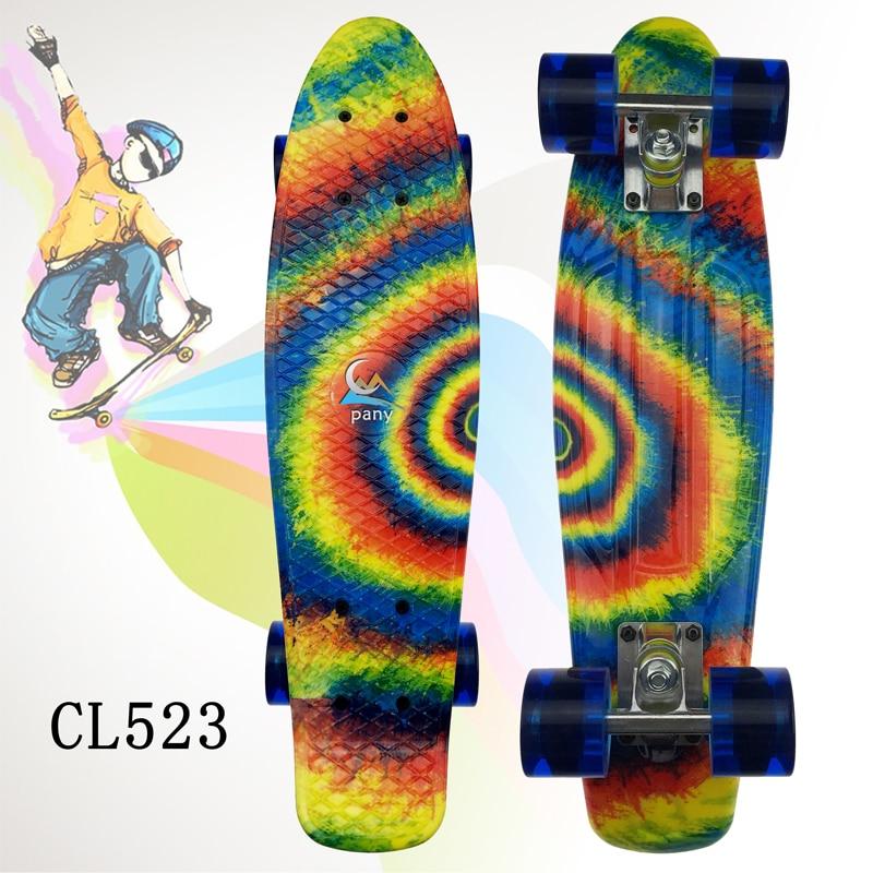 1PC Freestyle Cool 22 Inches Four-wheel Street Long Skate Board Mini Cruiser Skateboard Deck Longboard Wheels Waveboard Colorful - 4