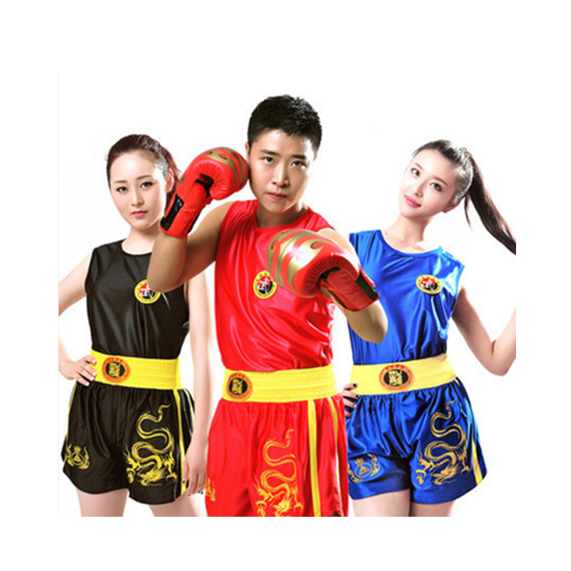 Unisex MMA Muay Thai Boxing Suits Genuine Embroidered Dragon Sanda Suit Jersey Boxing Clothes Performance Clothing Wholesale