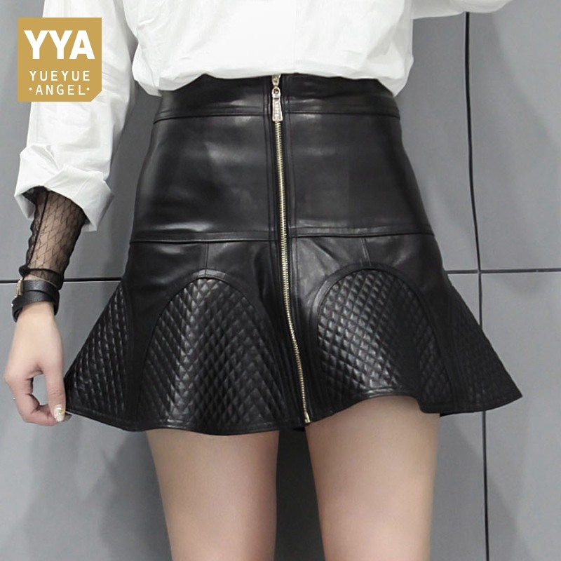 Fashion Women Zipper Ruffles A Line Sexy Mini Skirt Plaid Slim Fit Office Ladies Sheepskin Genuine Leather Skirts Plus Size 4XL