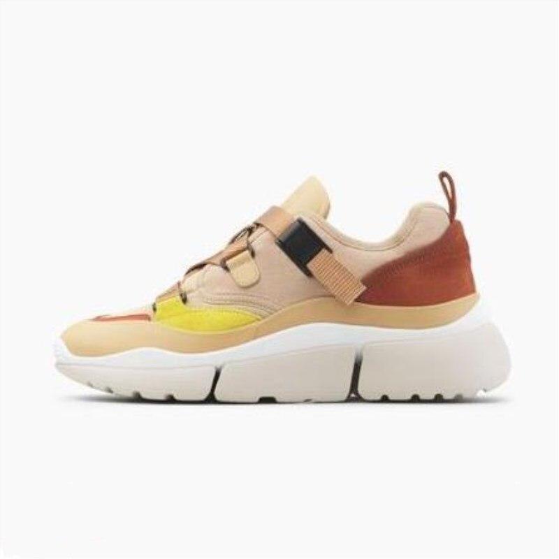 Mode dames chaussures de luxe designer couleur mixte chaussures à tête ronde chaussures Lok Fu style de rue gladiateur chaussures de sport à fond plat