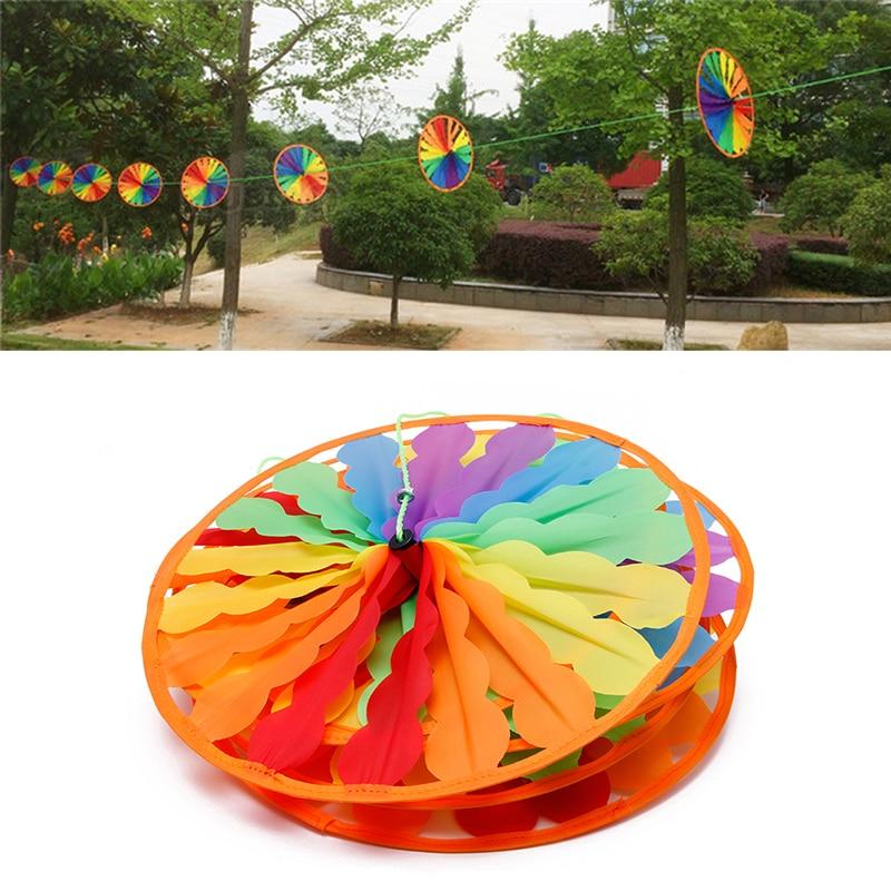 8pcs Wheel Rainbow Windmill Wind Spinner Whirligig Garden Home Lawn Yard Decor