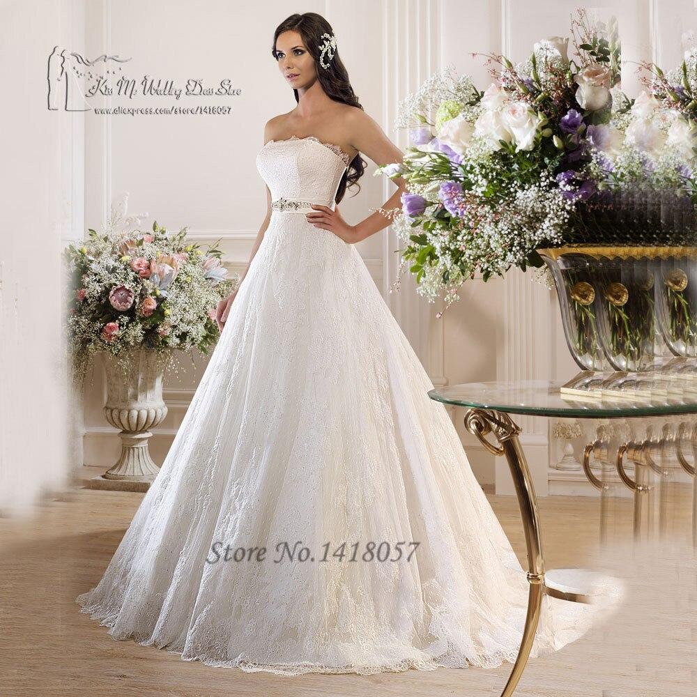 Vestidos de Noivas Princesa White Wedding Dress 2016 Strapless Lace ...