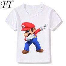 b6cff8c83 Dabbing Super Mario diseño de dibujos animados divertido los niños  camisetas niños ropa Casual ropa de