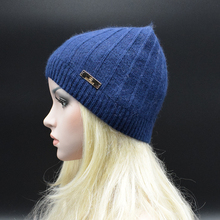 2017 MIGEDE Brand Adult Women Winter hat Angora Wool blended Knitted cap Elegant female beanies Solid color Caps Warm Snow hat