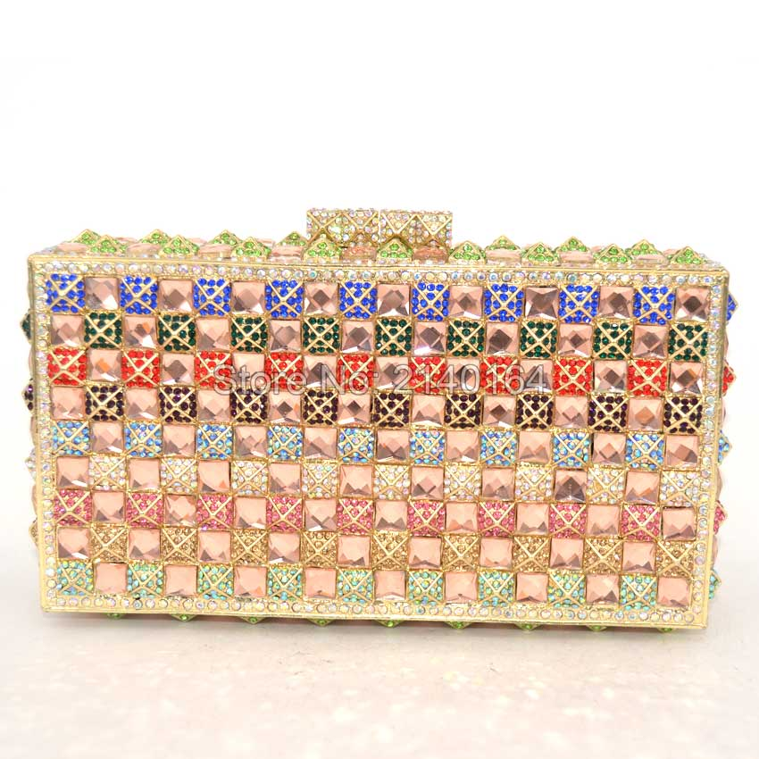 Women's Deluxe Evening Hard Case Bag Color Plated Diamond Clear White Crystals Should Chain Gift Box Packed 88603
