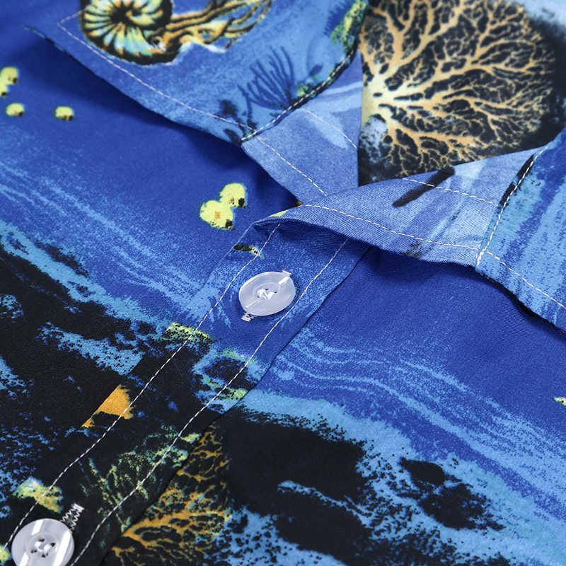 Летние пляжные Мужская гавайская рубашка короткий рукав белый тропический пальма печати кнопка подпушка рубашки для мальчиков Праздничная Вечеринка Camisa