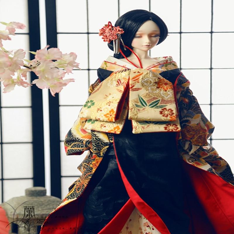 BJD Doll accessories bjd suit bjd kimono black floral kimono