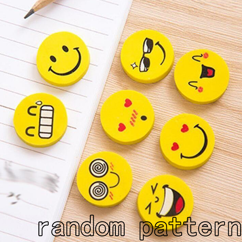 12pcs Smile Face Emoji Rubber Eraser Pencil Eraser Students Stationery for Children Kids Birthday Party Gifts Party Favors