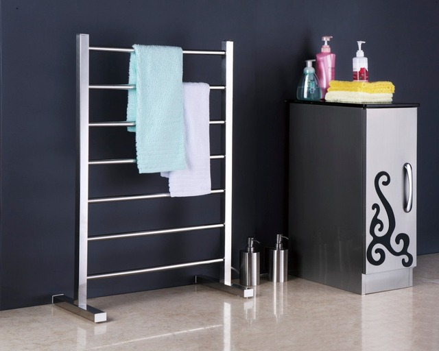 Free standing towel warmer electric heated towel rail ...