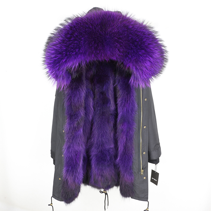 2019 Real Fur Coat Winter Jacket Women Long Parka Waterproof Big Natural Raccoon Fur Collar Hood Thick Warm Real Fox Fur Liner 129