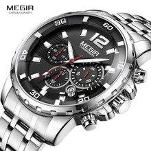 Megir Mens Chronograph Quartz Watches Stainless Steel Analogue Wristwatch for Man 24 hour Display Waterproof Luminous