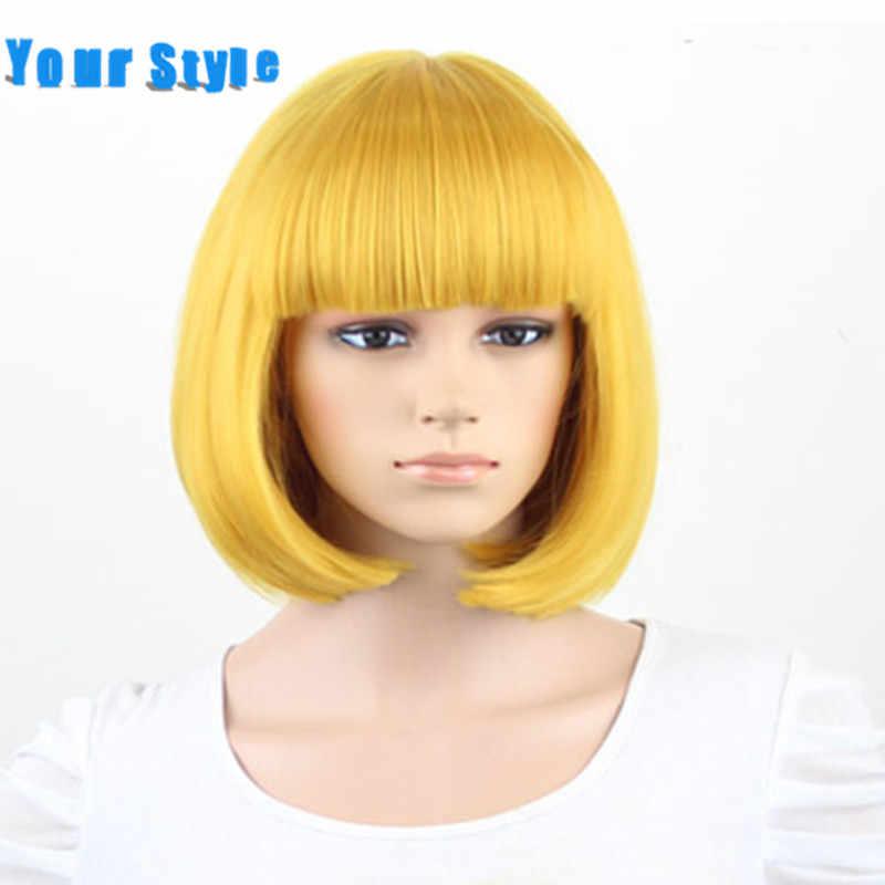 Uw Stijl 28 Kleuren BOB Pruik Synthetische Kort Zwart Haar Pruik Blauw Rood Grijs Roze Hoge Temperatuur Fiber