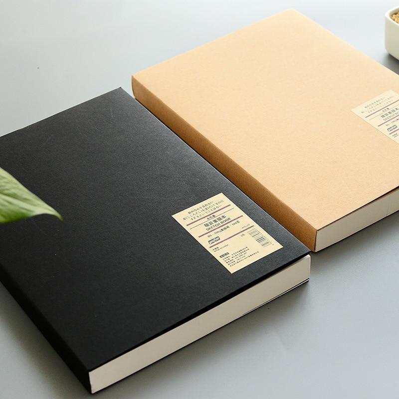 128 листов Простой крафт-бумага Блокнот креативные офисные школьные принадлежности Рисование эскиз блокноты пустая внутренняя страница блокноты