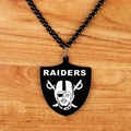 Acrylic Shield Shape Tag Charm Pendant Jewelry Hiphop Style RAIDERS Dancer Bead Chain Men's Pirate Pendant Hip Hop Necklace