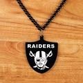 Acrylic Shield Shape Tag Charm Pendant Jewelry Hiphop Style RAIDERS Dancer Bead Chain Men's Pirate Pendant Hip Hop Necklace