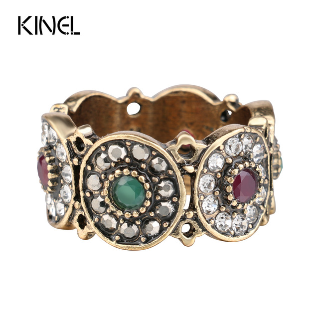 Kinel Turkey Rings For Women Hollow Vintage Wedding Ring Jewelry Ancient Gold Color Colorful Resin Stone