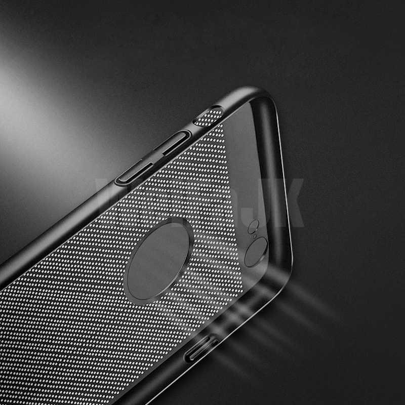 WeiFaJK الفاخرة الهاتف حقيبة لهاتف أي فون 5s 6 6s Plus 7 قضية تنفس تبديد الحرارة الغطاء الواقي لفون 7 8 Plus X