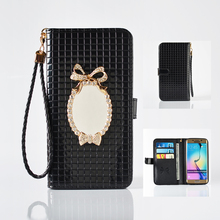 Роскошные Диаманта bling Зеркало Бумажник Кожаный Телефон Случае для Samsung Galaxy S5 S6 S6 Edge/Плюс S7 S7 Край Гнезда для платы Стенд Обложка