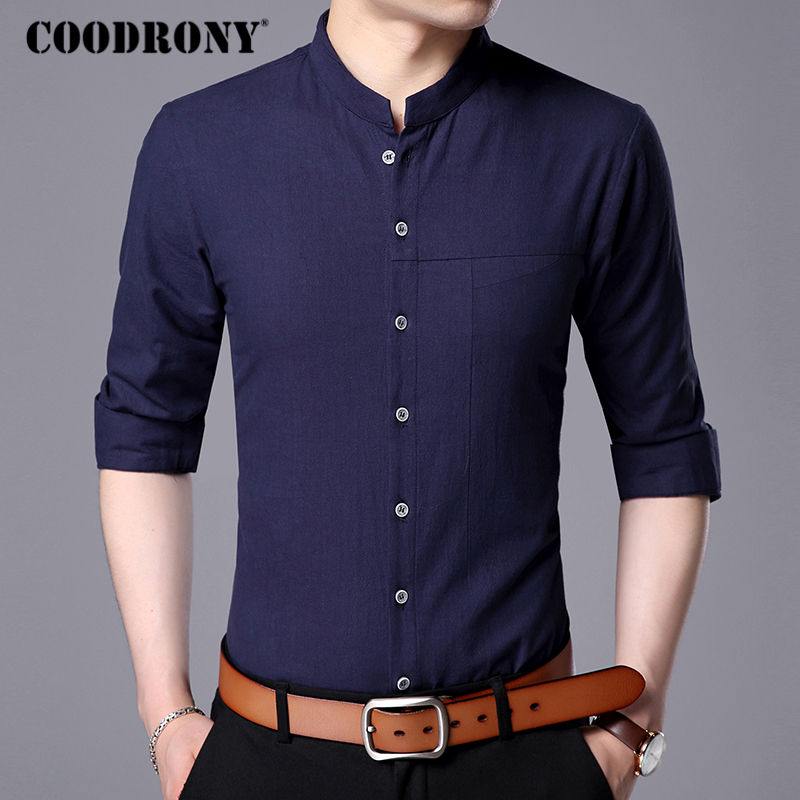COODRONY Men Shirt 2017 New Men Famous Brand Clothing Mens Business Casual Shirts Stand Long Sleeve Cotton Camisa Masculina 7711