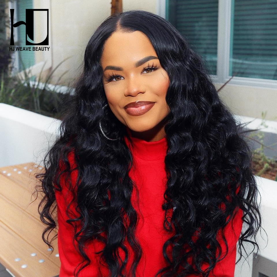 HJ WEAVE BEAUTY 13x4 Lace Front Human Hair Wigs Peruvian Natural Wave 300 Density Lace Wigs