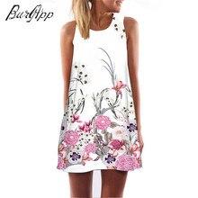 summer Dress Women multicolor blossom Digital printing Hot air Chiffon Sleeveless Boho Style Short Beach Dress 2018Casual dress