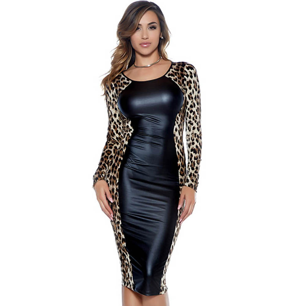 Vintage Women Leopard Printed Bodycon Dress Long Sleeve Leather Patchwork  Midi Bandage Dresses Autumn Robe Femme 6c2d5b7d0