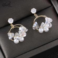 Badu Korean Small Cute Stud Earrings for Women 2019 Shiny Rhinestone Star Round Pearl Jewelry Gift Girl Wholesale