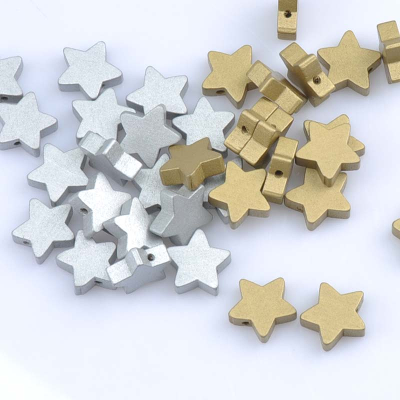 Gold and silver Natural Wooden Star Wooden Spacer Beads For Jewelry making DIY kids 19mm 20pcs MT1487X