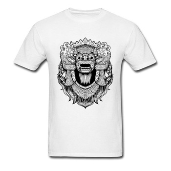 Short Sleeve Men T-shirt Indonesia Mythology Barong Black White