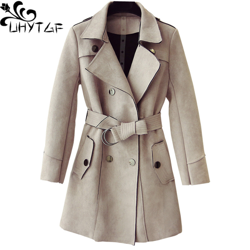 UHYTGF Spring Autumn   trench   coat for women luxury deerskin suede elegant Female coat Double-breasted slim Ladies casual coats 40