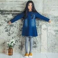 Cotton Jeans Dress Girl 10 12 14 Years 2017 Spring Autumn Long Sleeve Denim Blue Kids