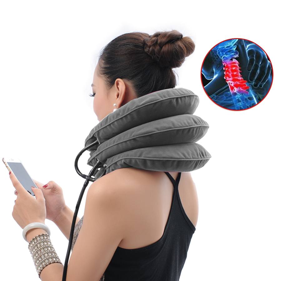 High quality Cervical Traction Collar Medical PVC line Neck Massage Device Support Brace Posture Corrector Pain Relief neck care adjustable neck brace support cervical traction fixation spine care correction protection pain relief posture corrector