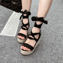 TINGHON NEW Women Cross Lace Up Platform Sandals Peep Toe Wedge Espadrilles Women Ankle Strap Comfortable Women Sandals black rope women white slingback shoes lace up ladies strap sandals female wedge ankle espadrilles pumps tie closed toe designer