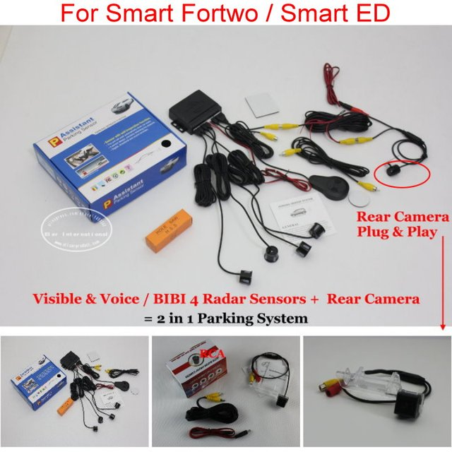 For Smart Fortwo / Smart ED - Car Parking Sensors + Rear View Back Up Camera = 2 in 1 Visual / BIBI Alarm Parking System