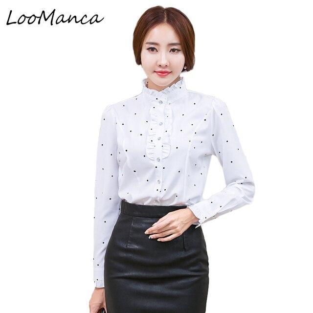 aff7d5ac0b310 Plus Size 4XL 5XL Formal Shirt Women Clothes Long Sleeve Stand Collar  Ruffles Blouse Elegant OL Office Ladies Work Wear Tops