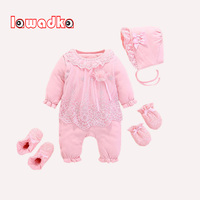 Baby Romper Hat Gloves Socks 4Pcs Baby's Sets Baby Rompers Winter Long Sleeve Baby Set Girl 1st Birthday Party Clothes