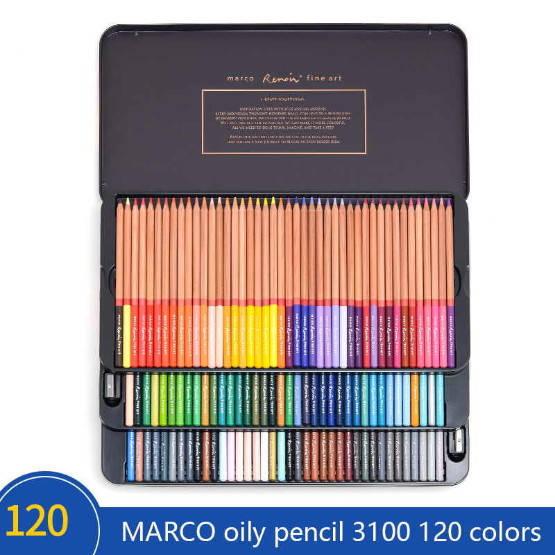 MARCO Art design professional 6/120 color theme hand-painted Renoir oil color pencil student painting special iron boxMARCO Art design professional 6/120 color theme hand-painted Renoir oil color pencil student painting special iron box