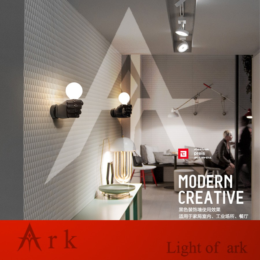 Ark Creativo Loft Light Estilo Puño Nórdico Aplique Led Resina De SVMzUp