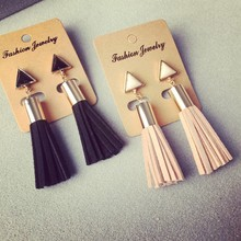 Vintage Triangle Tassel Drop font b Earrings b font Faux Suede Fabric Long Dangle font b