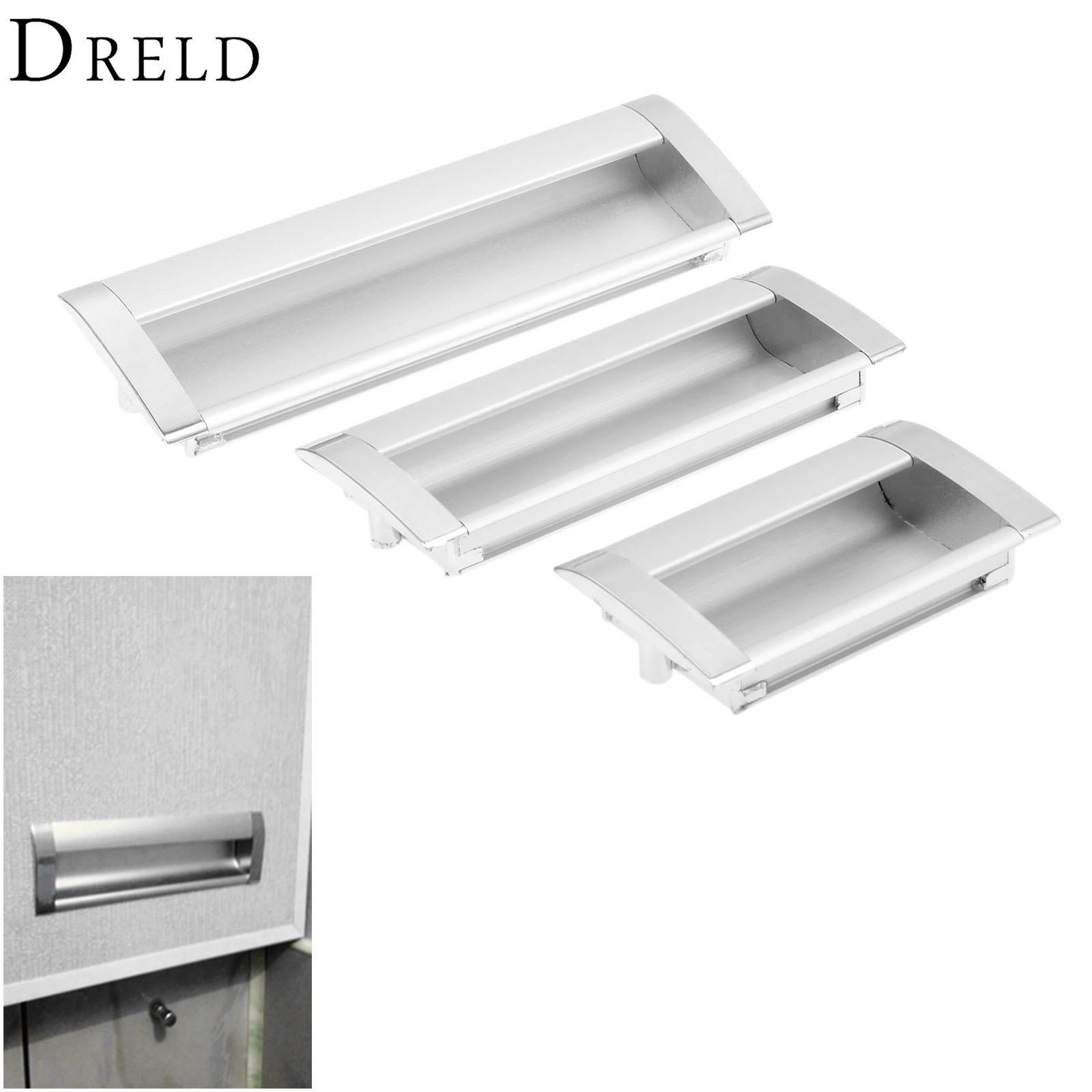 DRELD Furniture Handles Hidden Recessed Flush Pull Zinc Alloy Concealed Handle Sliding Window Door Cabinet Knobs and Handles