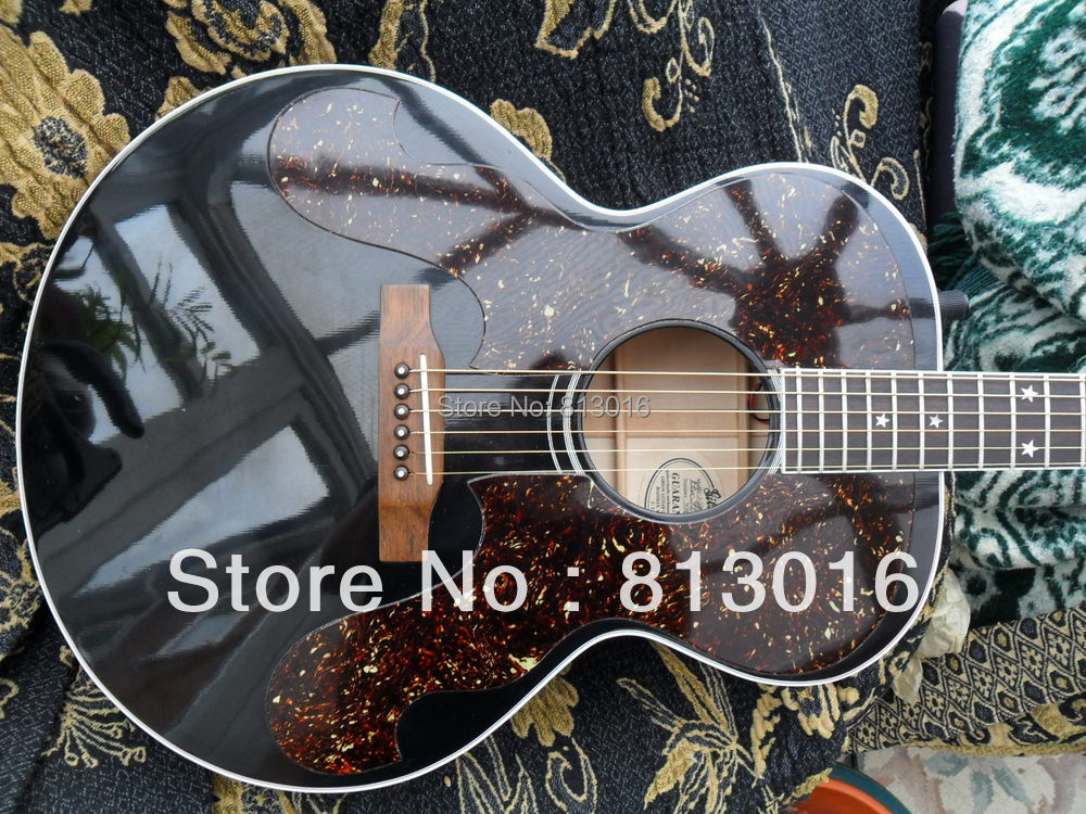 best guitar J-180 Jumbo Acoustic guitar with EQ solid black high glossy with large pickguard electric guitar  free shipping two way regulating lever acoustic classical electric guitar neck truss rod adjustment core guitar parts
