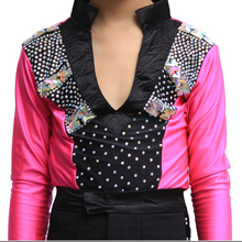 2016 Cool Boy Latin Dance Tops 3Colors V-Neck Beadings Shirt Performance Competition Dance Clothes Vestidos De Baile Latino